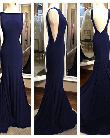 Elegant Long Backless Mermaid Fitted Black Prom Gown Formal Evening Dress with Sweep Train DP080