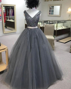 Gray Beaded V Neck Two Pieces Prom Dresses Long Tulle Formal Gown DP082