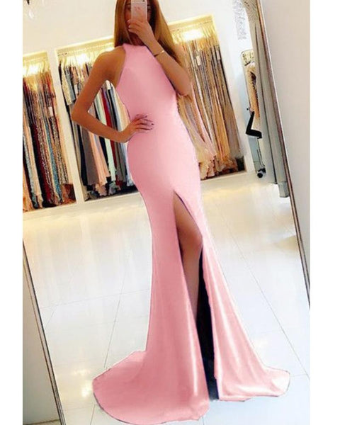 Pink Halter Prom Dresses Fitted Long Evening Party Gown DP083