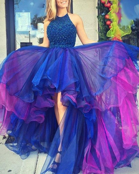Flattering Blue Rhinestone silhouette Mesh Hi low Prom Dress Girls Senior Graduation Gown for Party DP084