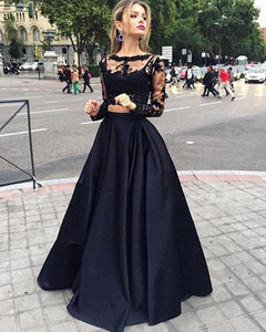 Girls Crop Top Long Senior Graduation Prom Gown Black Prom Homecoming Dress with Long Sleeve DP085