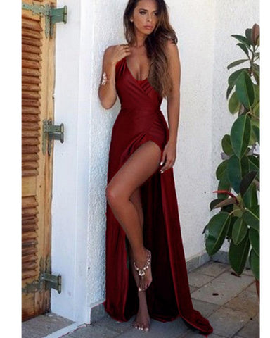 Olive Green/Navy/Burgundy Sexy High Slit Long Evening Party Dresses Women Prom Formal Gown DP086