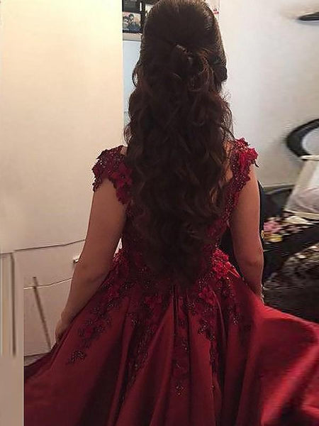 Gorgeous Flower Lace Ball Gown Prom Dresses Women Formal Evening Gowns DP088