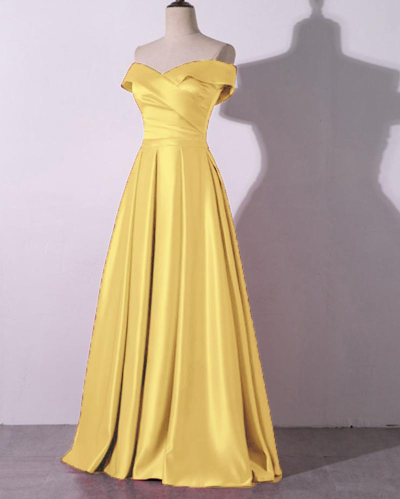 Yellow Off the Shoulder Women Formal Dresses A Line Satin Evening Prom Gown DP089