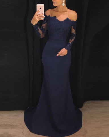 Elegant Fitted Long Sleeves Evening Gown lace Appliqued Navy Prom Dresses DP090
