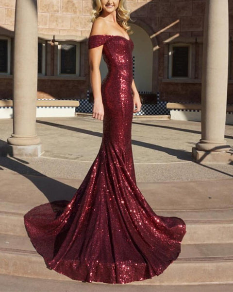 Bling Bling Sequins Burgundy Red Off the Shoulder Fitted Evening Dresses Long Prom Gown DP091