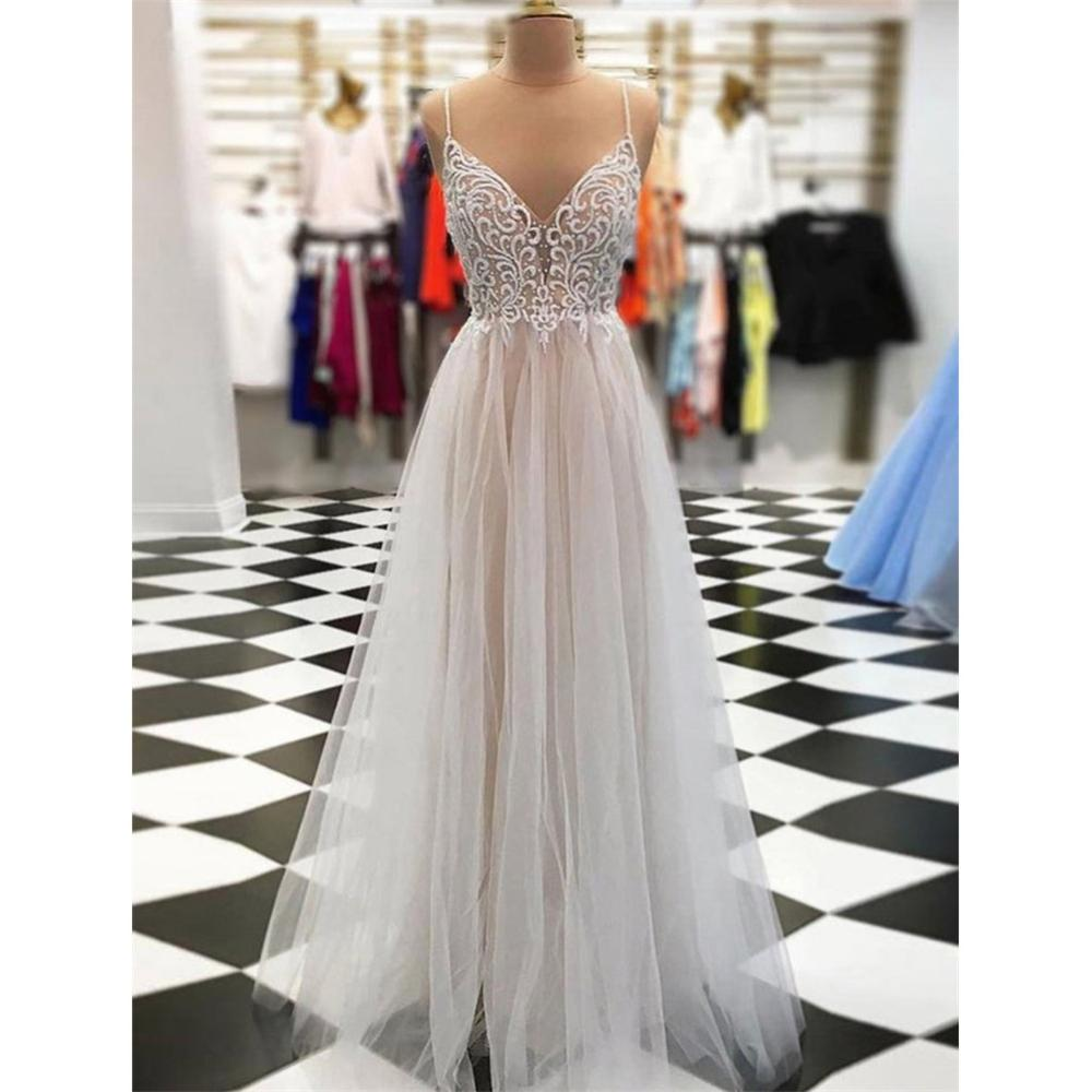 A-line Floor-length Spaghetti Straps V-neck Appliques Tulle Prom Dresses DP093
