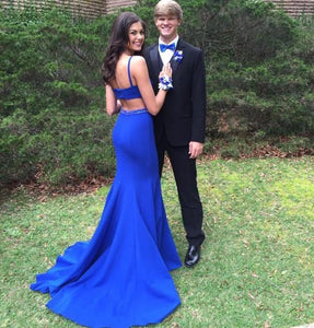 Mermaid Sleeveless Beading Royal Blue Backless Prom Dresses With Train DP095