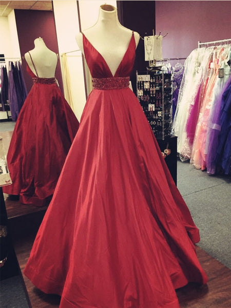 Gorgeous V-neck Spaghetti Straps Backless Beading Red Prom Dresses DP096