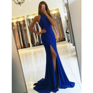 Mermaid Halter Royal Blue High Split Long Prom Dresses With Train DP100
