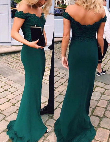 Mermaid Green Appliques off-shoulder floor-length sexy party dress, long Prom Dresses DP101