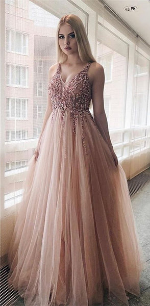 A-Line V-neck Floor-Length Pink Pleated Prom Dress with Beading DP103