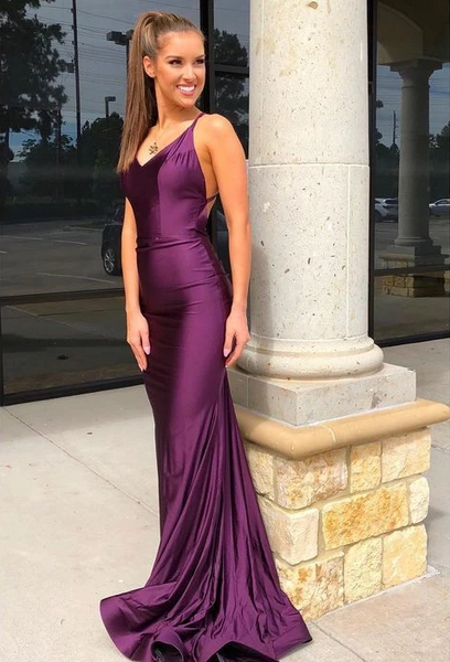 Charming Prom dress,Satin Prom Dress,Mermaid Evening dress,Backless Prom Gown,DR0011