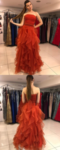 Charming Strapless Ruffles Red Prom Dress, Long Evening Party Dress,DR0014