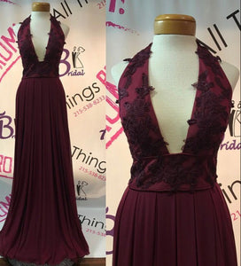 Burgundy lace v neck long prom dress,burgundy formal dresses,DR0143