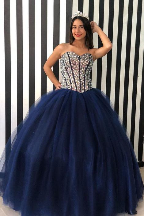 Sweetheart Navy Blue Beaded Long Quinceanera Dress long prom dress,DR0149