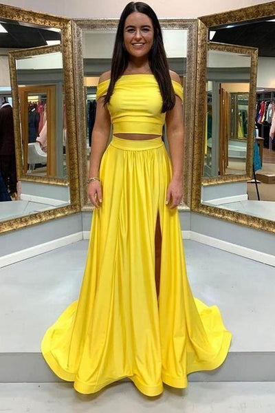 Simple yellow satin two pieces long prom dress yellow formal dress,DR0150