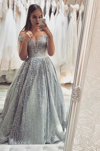 Gorgeous Off the Shoulder Silver Beaded Long Prom Dress ,DR0153
