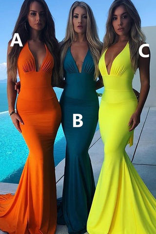 Mermaid Deep V Neck Satin Prom Dresses, Halter Long Bridesmaid Dresses, Bridesmaid Dresses,DR0334