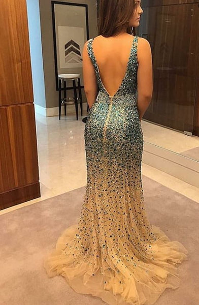 Mermaid V-neck Sleeveless Sweep Train Backless Prom Evening Party Dress with Full Beading,DR0338