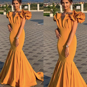mermaid prom dresses, 2020 prom dresses, gold prom dresses, ruffle prom dresses, ruffle evening dresses,DR0348