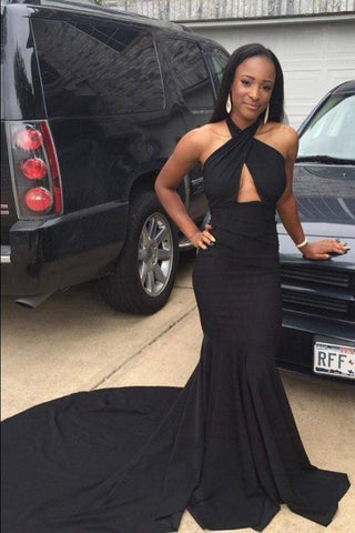 Black Sleeveless Open Back Prom Dresses with Train,DR0414