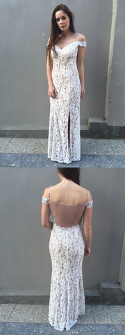 Elegant Off the Shoulder White Lace Mermaid Long Prom Dresses,DR0418
