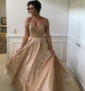 Beauty Off Shoulder Prom Dress,Prom Dress with Sweep train,Cheap Prom Dress,Bridesmaid Dress,Stunning Beading Champagne Prom Dress,DR1371