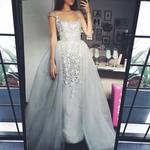 Sexy Prom Dresses,Elegant A-Line Scoop Tulle Cap-Sleeves Appliques Prom Dress,DR1384