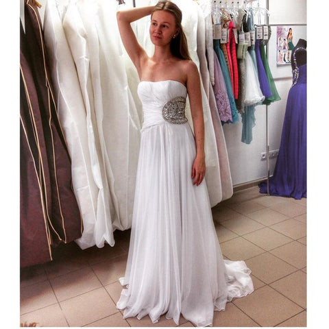 White Prom Dress,Long Prom Gown,Simple Bridal Dress,Evening Dress,Elegant Formal Dress,Vintage Prom Gowns,Modest Evening Gown,DR1386