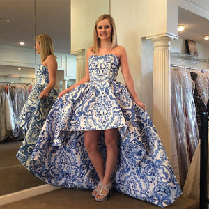 Strapless Prom Dress,High Low Prom Dresses,Long Prom Gown,Printed Prom Dress,DR1387