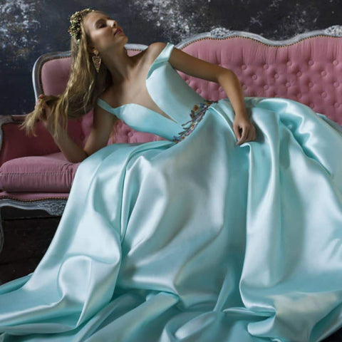 Satin Ball Gown Prom Dresses, Long Prom Dress, Prom dress,DR2590