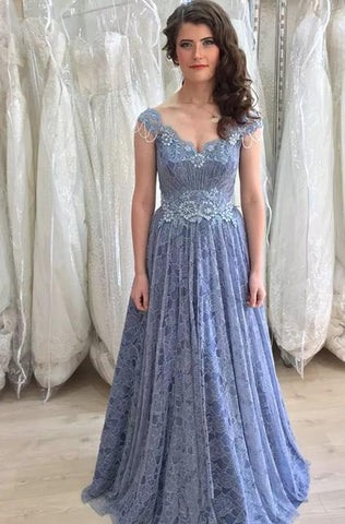 A Line Lace Long Prom Dress, Charming Prom Dress ,DR2432