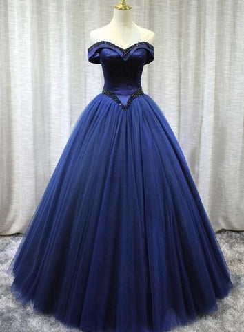 Beautiful Handmade Off Shoulder Tulle Sweet 16 Gown, Long Formal prom Gowns ,DR2434