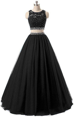 Black Two Piece Long Prom Dress, Charming Prom Dress ,DR2435