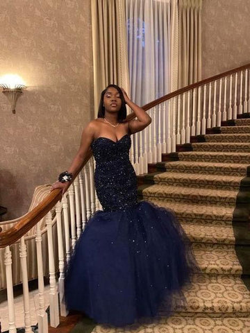 Sweetheart Navy Blue Mermaid Prom Dress With Beading ,DR2436