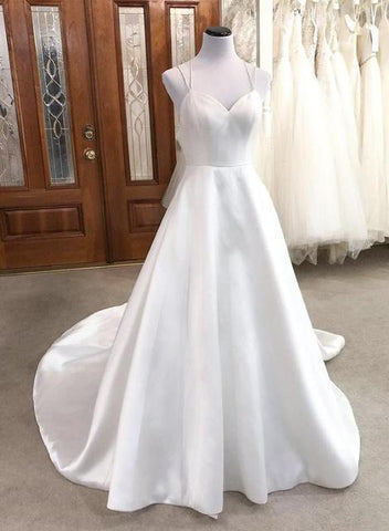 White satin long prom dress simple evening dress,DR2438