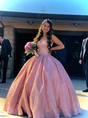 sparkling pink quincenera dress Long Prom Dress  ,DR2439