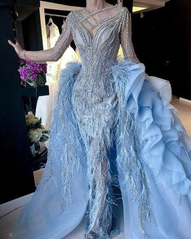 luxury blue prom dresses with detachable skirt beaded crystal feather long sleeve elegant prom gown ,DR2445