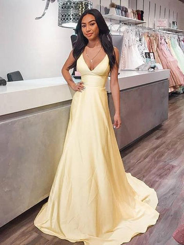 V Neck Yellow Satin Long Prom Dresses, Long Yellow Formal Graduation Evening Dresses,DR2447