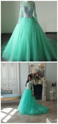 Simple Tulle Prom Dress With Beading Top,DR2448