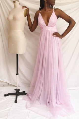 pluning pink tulle long prom dress formal dress ,DR2511