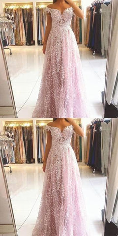 Off the shoulder long prom dress , lace prom dress,DR2516