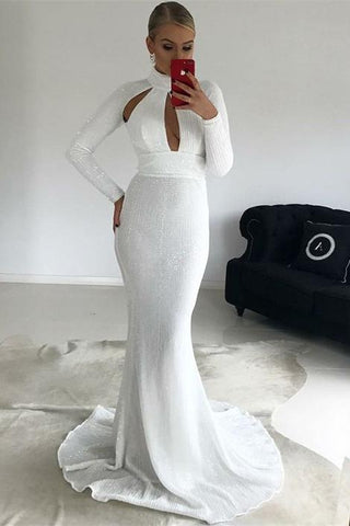 Mermaid High Neck Long Sleeves White Sequined prom dress ,DR2521