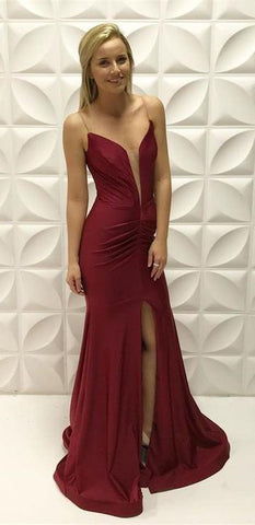 Charming Burgundy Long Evening Dress, Split Slit Prom Dress with Slit,DR2523