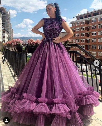 Scoop Neck Tulle Prom Dress, Charming Prom Dress With Beading Top ,DR2527