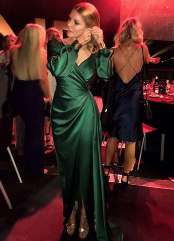 Green V Neck Prom Dress With Long Sleeves,Elegant Prom Dress With Split ,DR2530