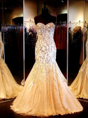 Trumpet/Mermaid Sweetheart Lace Tulle Sweep Train Beading Prom Dresses,DR2613