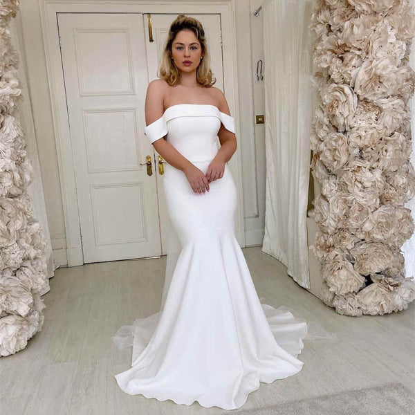 Off the Shoulder Mermaid Long Bridal Dress with Bow,DR2623