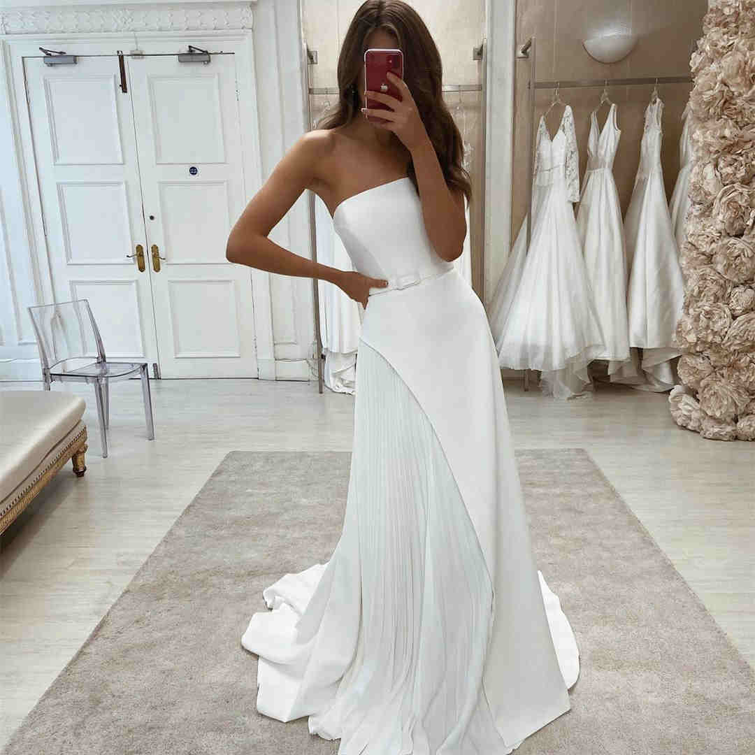 Chic Strapless White Long Wedding Dress with Belt,DR2624